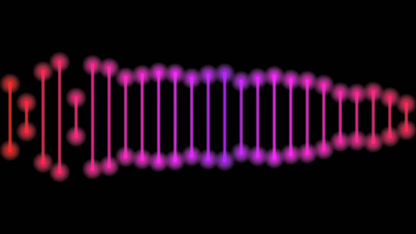 Abstract CGI motion graphics and animated background of a red purple colored line acting like an audio waveform but staying on a straight plane while randomly rearranging its shape, on black   Shutterstock HD Video #2667386