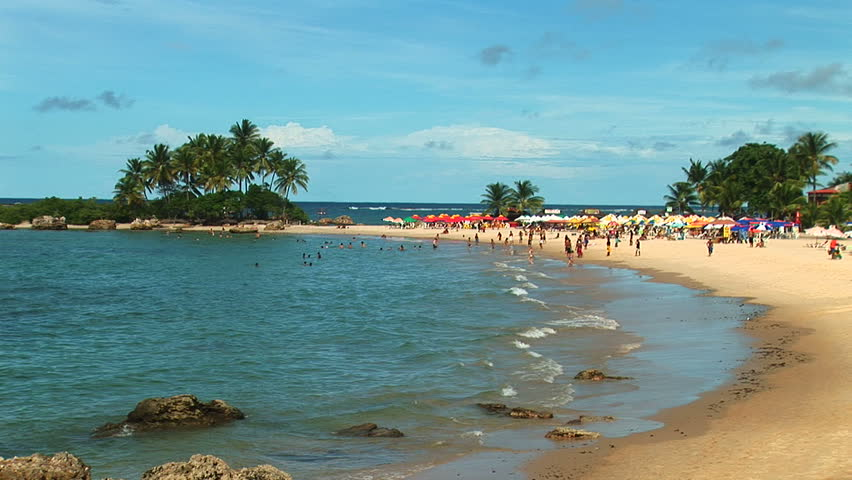 Secluded Beach With A Breeze In Salvador Brazil Stock