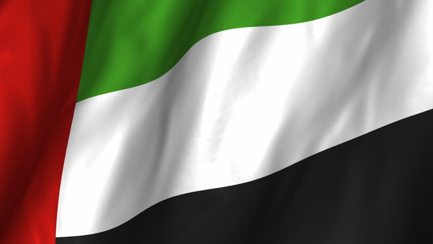 A beautiful satin finish looping flag animation of United Arab Emirates. A fully digital rendering using the official flag design in a waving, full frame composition. Animation loops at 10 seconds.   - HD stock video clip