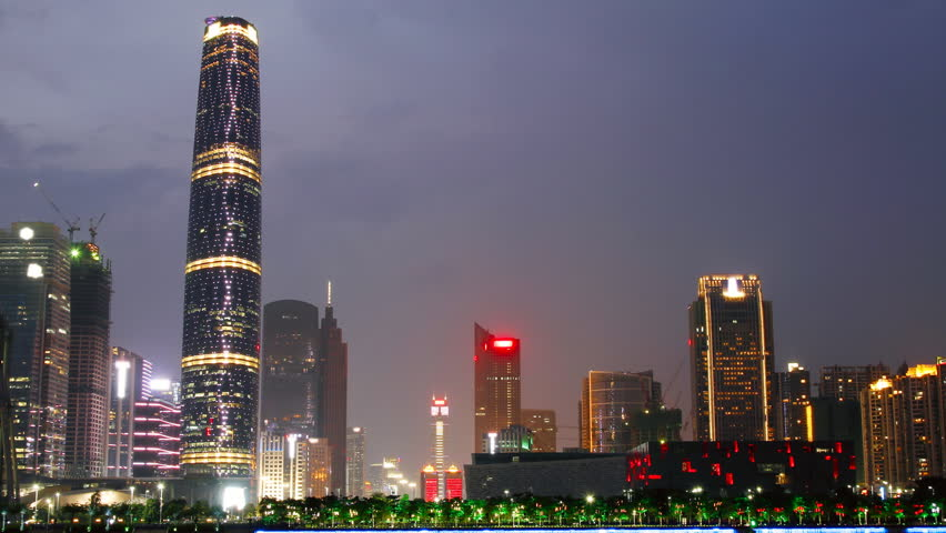 GUANGZHOU - MAY 12: Time lapse of Guangzhou skyline over Pearl River at night on