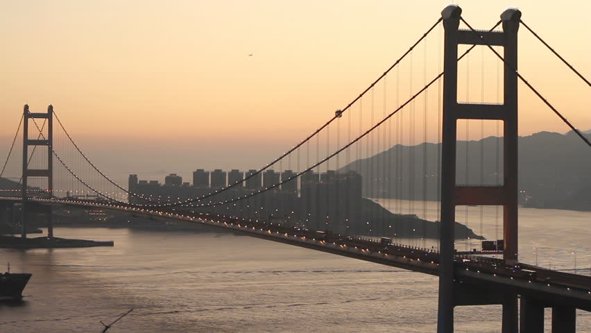 Container Ship Across the Tsing Ma Bridge at Dusk - Tsing Ma Bridge is a bridge