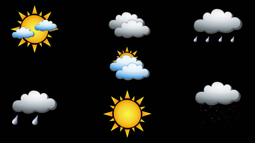 Set of 7 Animated Weather Icons (sunny, thunderstorm, partly cloudy, cloudy, snow and overcast) on white and black