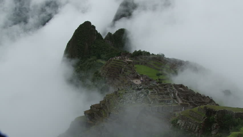 Clouds rolling over Machu Picchu