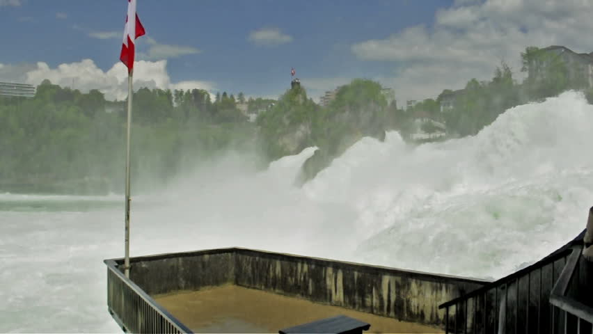 Balcony over Rhine Falls in Switzerland. Part of the famous waterfalls of the river Rhine (Rhein) in Schaffhausen (with sound) - HD stock video clip