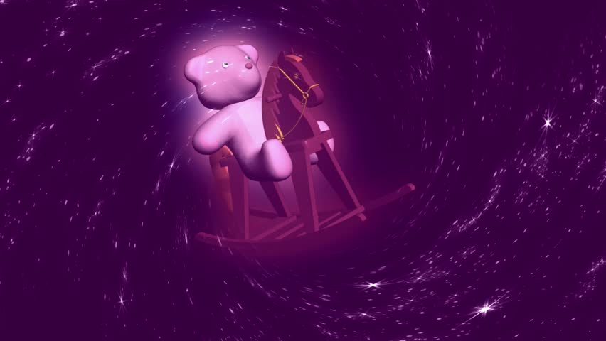 Abstract CGI motion graphics and animated background with teddybear on rocking horse - HD stock video clip