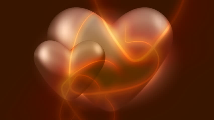 Abstract CGI motion graphics and animated background with 3d hearts - HD stock footage clip