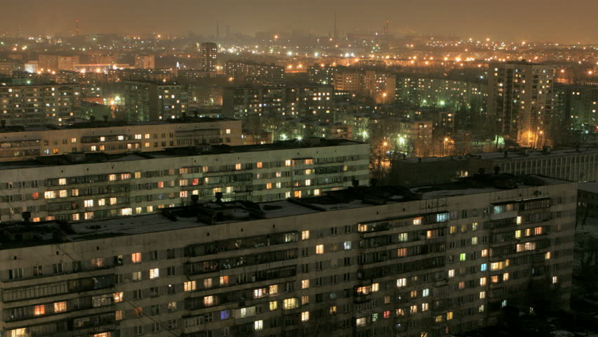 buildings with flats at night, timelapse