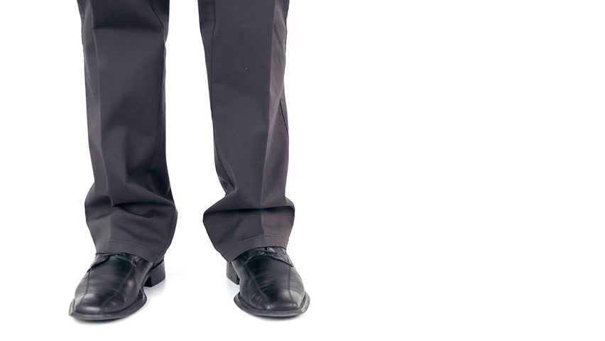 Businessman dancing on white background, close up - HD stock footage clip