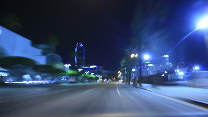 Driving Timelapse Night 30 Los Angeles Downtown VJ Loop