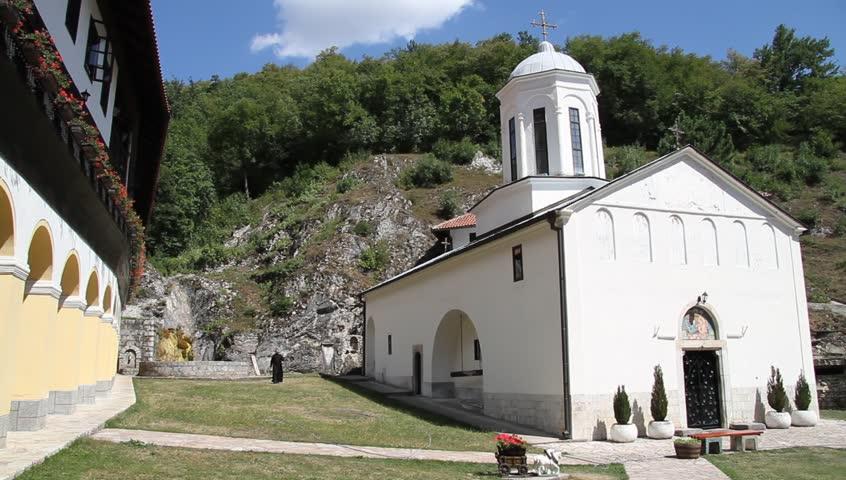 Monastery near Plevlja in Montenegro - HD stock footage clip