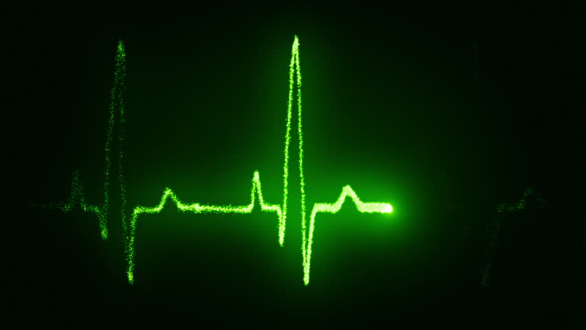 Heart beat pulse in green - HD stock video clip