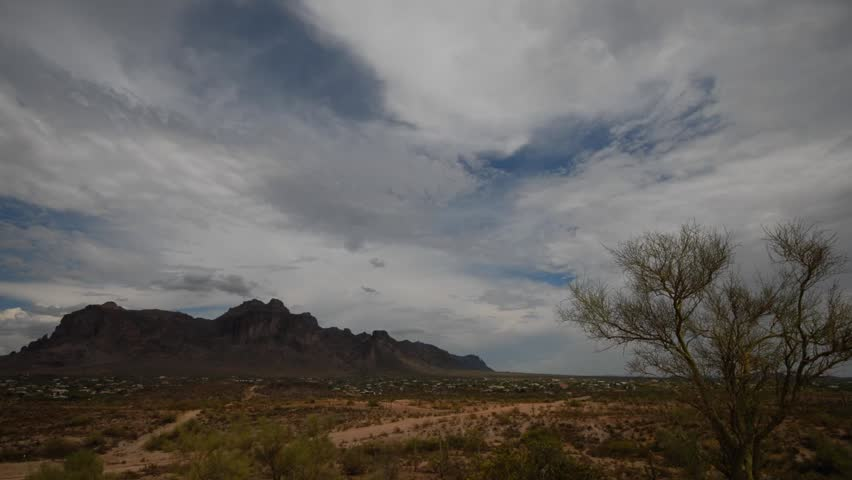 Time lapse video of clouds over the Superstition Mountains east of Phoenix Arizona