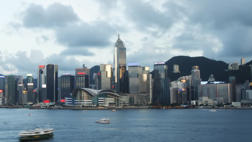 HONG KONG - JULY 8: Time lapse of Hong Kong skyline day to night on July 8, 2012