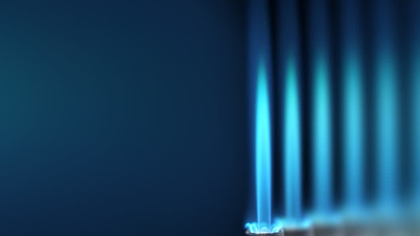 Industrial natural gas burner with multiple flames - loopable - HD stock video clip