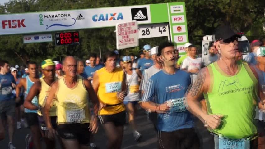 RIO DE JANEIRO - SEPT 09: Start of Maratona Pro Adidas 2012. September 09, 2012 in Rio de Janeiro, Brazil. - HD stock video clip