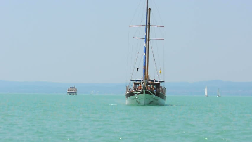 Tourist boat on the sea - HD stock footage clip