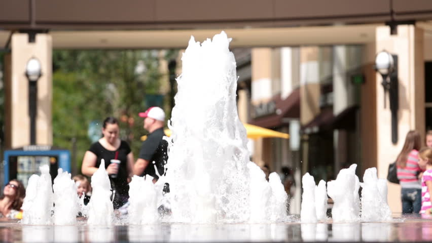 SALT LAKE CITY, UTAH SEPT 2012: Grand opening City Creek Center. Development revive urban blight and downturn. Commercial, residential and office. Owned by Mormon church to beautify area. Fountain. - HD stock footage clip