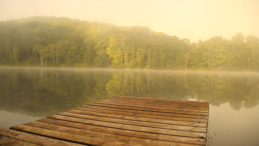River Dock in Summer Morning Mist