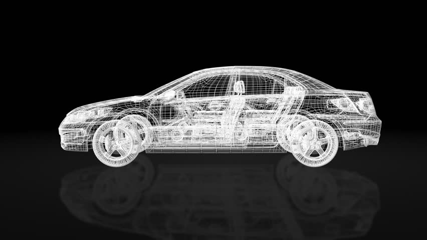 Luxurious car morphing from wire frame blueprint to final product,rotating,ground reflection,wind tunnel - HD stock footage clip