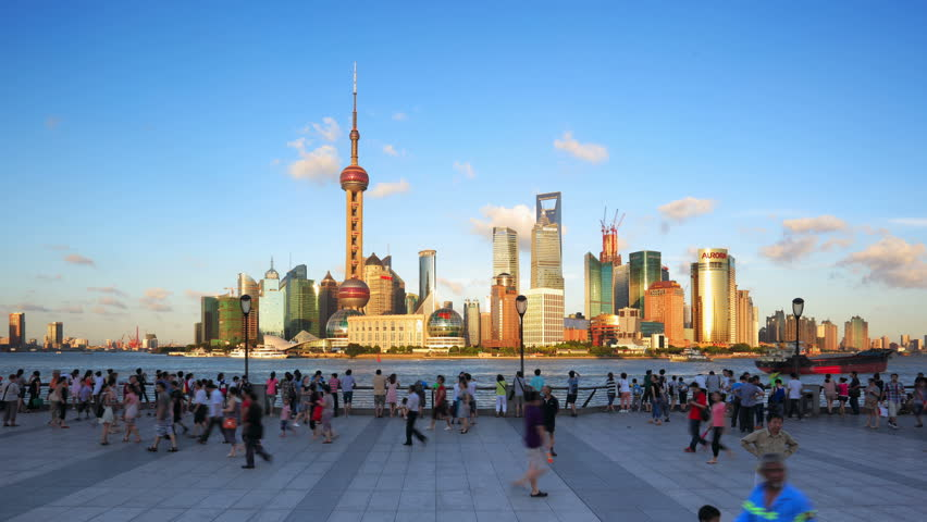 """SHANGHAI - CIRCA OCT 2012: Timelapse(Hyper-move) of Shanghai Pudong viewed from the Bund circa October 2012 in Shanghai, China.   - - - ( Please search more: """" ShanghaiSkyline """" )"""