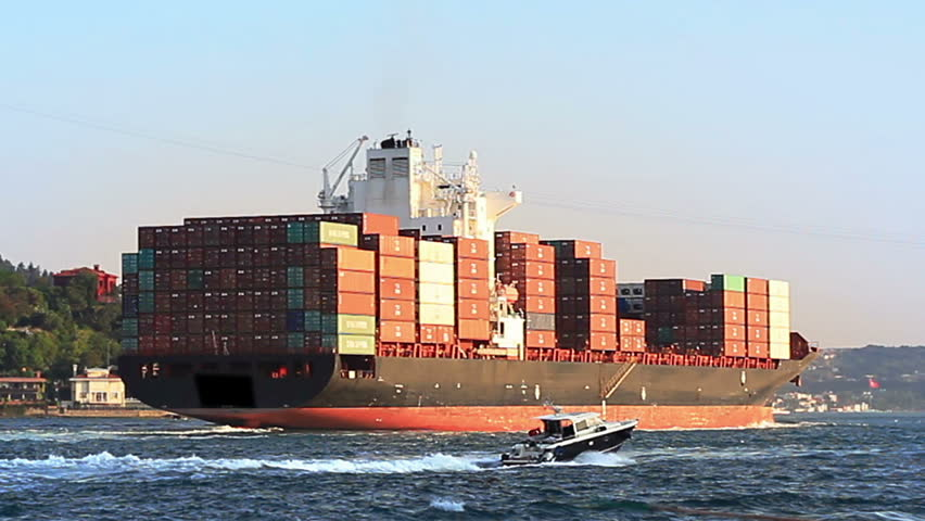 Cargo ship full of containers sailing from Black Sea. Container Transportation   - HD stock footage clip