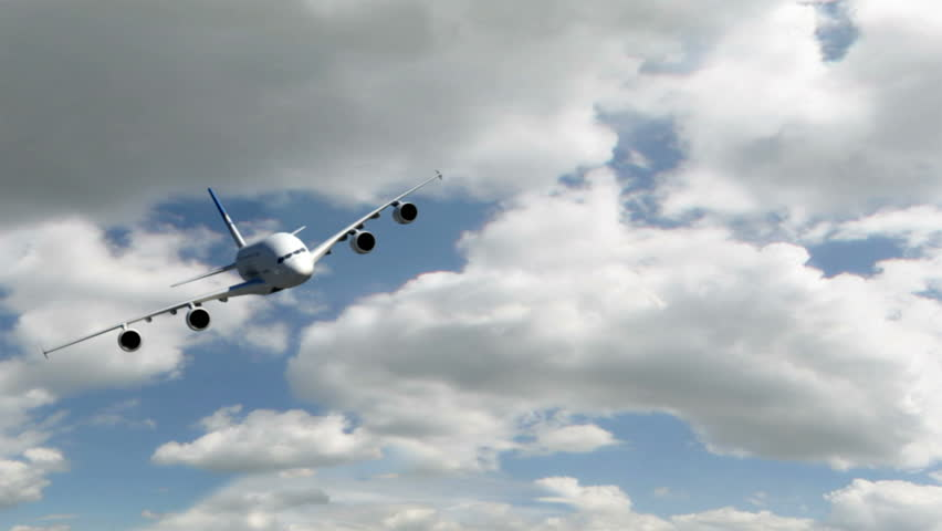 An Airbus 380 flying at cruising altitude banking towards the viewer.  (High quality 3d animation rendered with Mental Ray)  - HD stock video clip