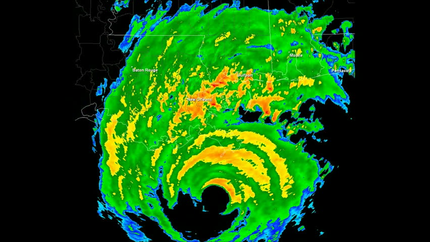 Hurricane Katrina (2005) Landfall Doppler Radar Time Lapse / loop. Created using data provided by NOAA. County / State borders and geographically correct labels for major affected cities are visible.