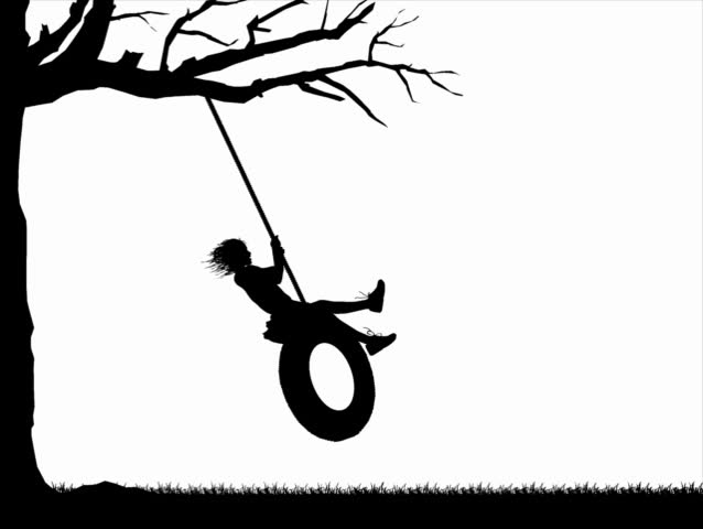 Computer-generated silhouette animation graphic depicting a girl playing on a tire swing (concept: play or carefree) - SD stock video clip