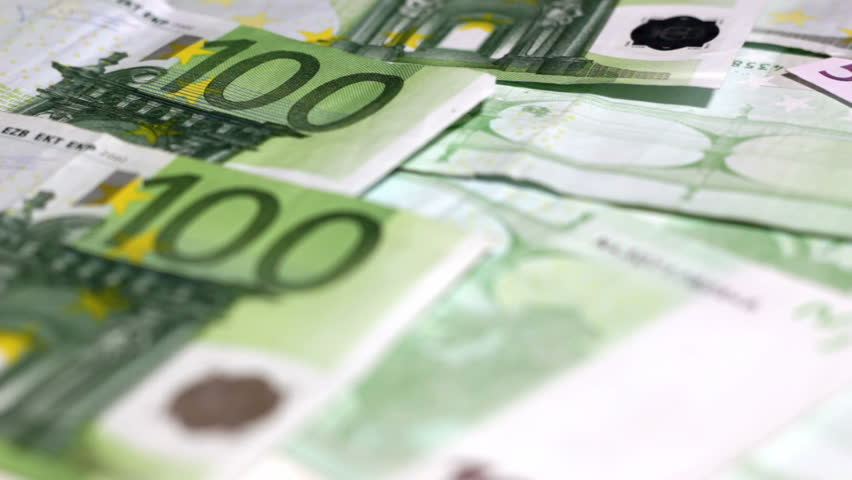 Counting money - big euro banknotes. Paying money or being payed. Europe banknotes freshly printed. - HD stock video clip