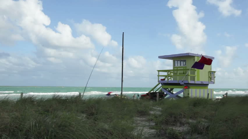 Miami Beach lifeguard house - HD stock video clip