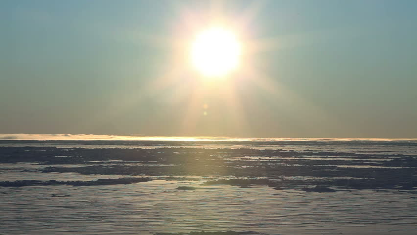 Man walks through frame, arctic sea ice