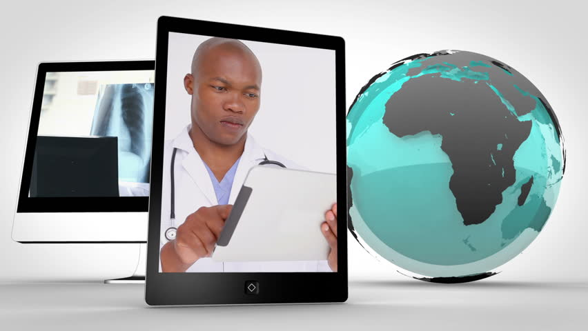 Animation of doctors in multimedia with an Earth image courtesy of Nasa.org - HD stock video clip