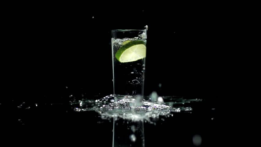 Water Drink splashing fresh drops lemon fruit slice