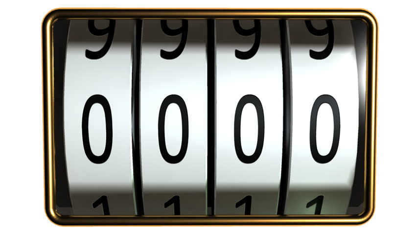 counter with four rolls looping counting from 0000 to 9999 - HD stock footage clip