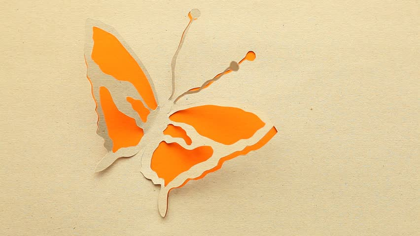 Moving of abstract handmade butterfly .