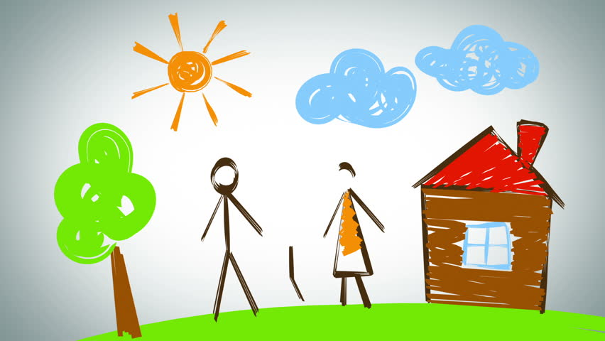 Family drawing, beautiful animation - HD stock footage clip