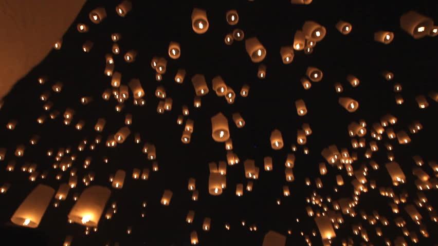 Lanterns launching for Loy krathong buddhist festival in Thailand
