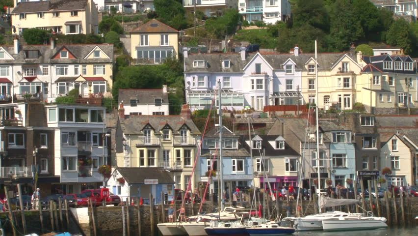 Hillside houses of West Looe overlooking the river estuary in Cornwall.
