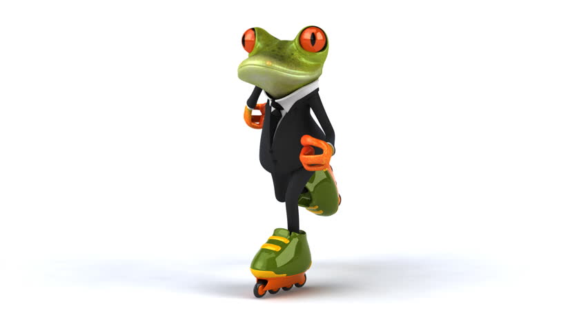 Fun frog skating - HD stock footage clip