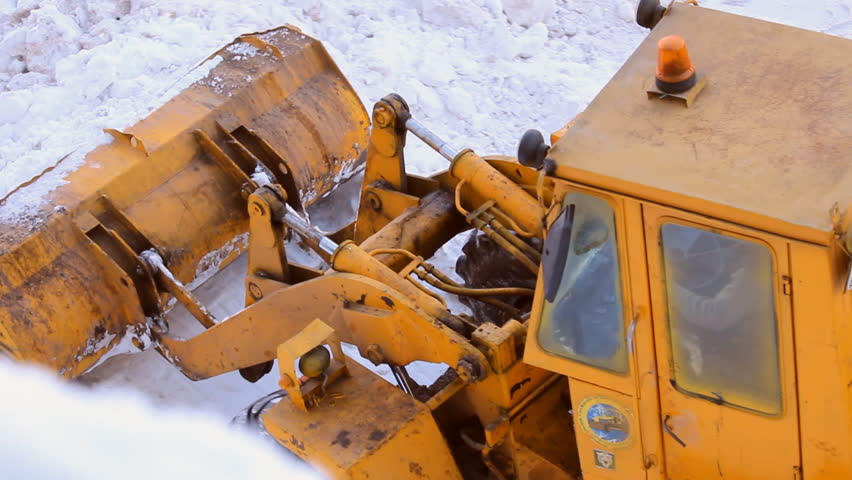 Snow removal tractor  - HD stock video clip