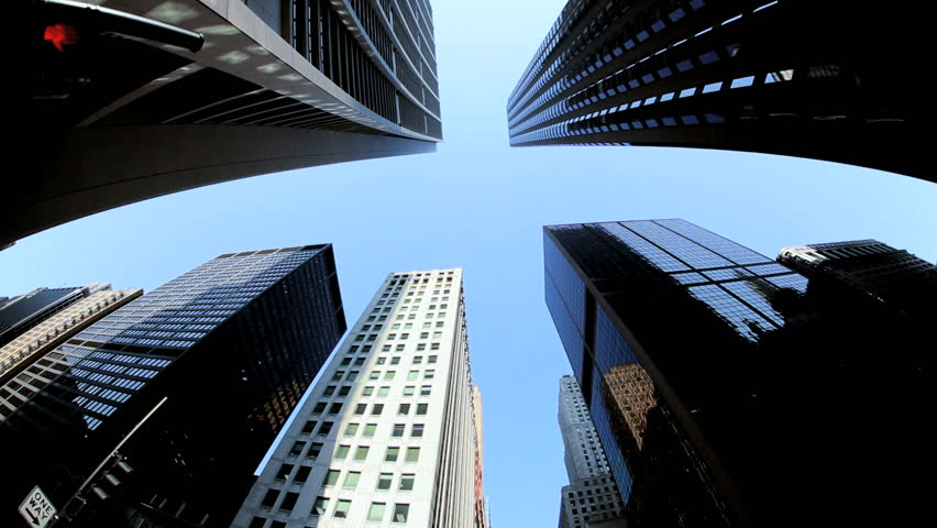 Point of view city driving passed skyward skyscraper building, North America | Shutterstock HD Video #3276200
