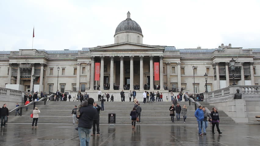 LONDON, UK  – APRIL 3rd: Two shots ot the National Gallery in London on April 3rd, 2012. The National Gallery art museum on Trafalgar square is the 4th most visited art museum in the world.  - HD stock video clip