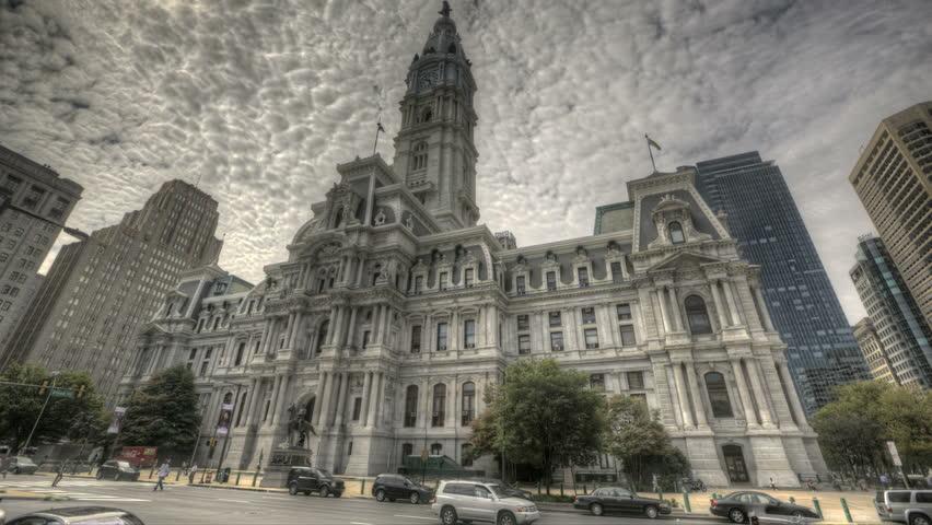 PHILADELPHIA - AUG 3: Traffic in front of Philadelphia's landmark historic City