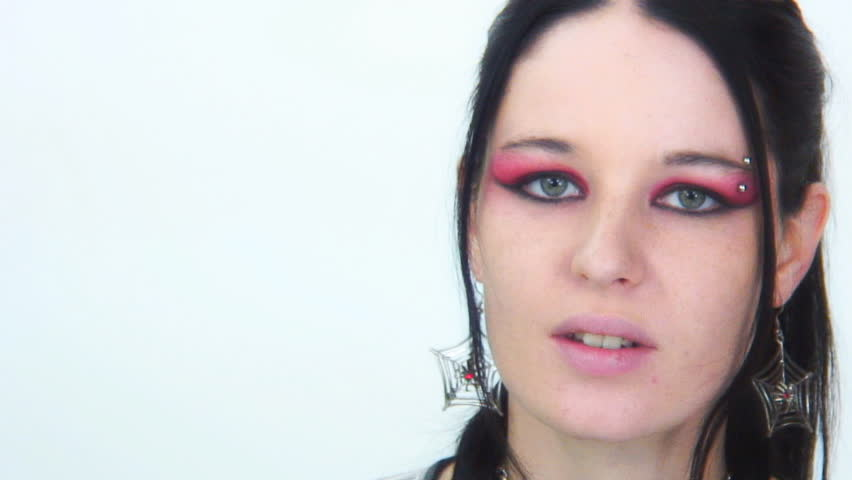 Goth girl expression No way - frustration - HD stock video clip