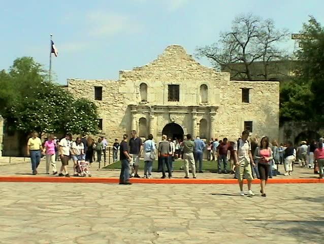 Video of the Alamo in San Antonio Texas. Historic landmark. Busy tourist day.  - SD stock video clip