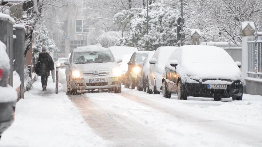 Frankfurt Germany 21 January Cars Drive On Icy Winter