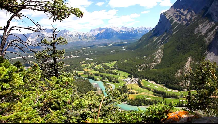 View from above on Bow river valley and Rocky Mountains (Banff National Park. Alberta. Canada)  #3313064