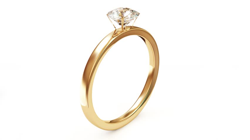 Animation of Golden Wedding Ring with Diamond. Alpha Channel is Included (HD)  - HD stock footage clip