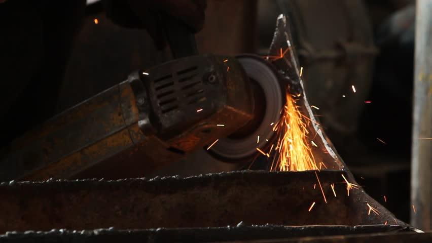sawing metal - HD stock video clip