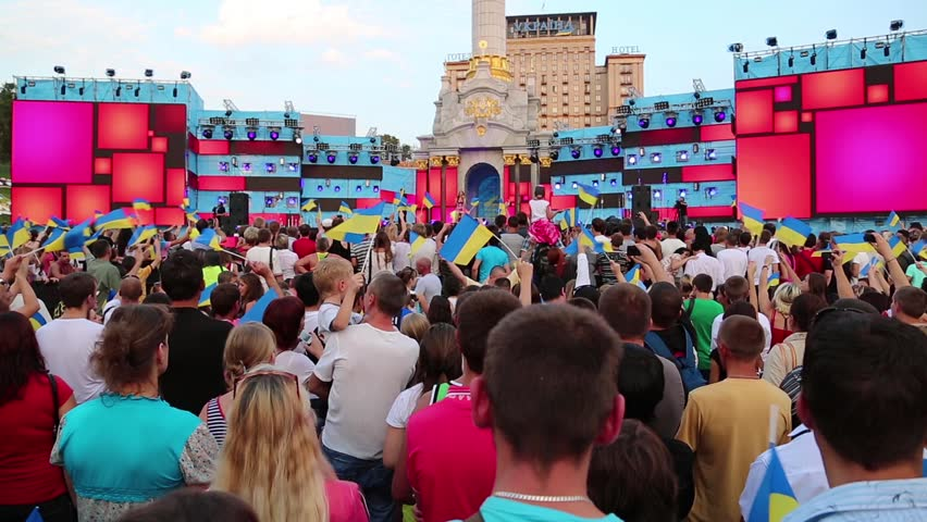 KIEV, UKRAINE, AUGUST 24, 2012: People on holiday concert on Independence Square dedicated to celebrating Independence Day in Kiev, Ukraine, August 24, 2012. - HD stock footage clip